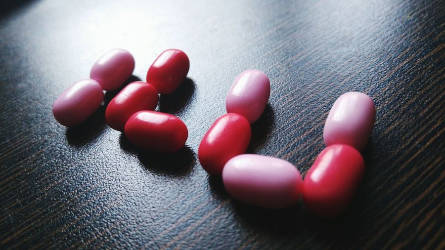 Close-up of capsules on table
