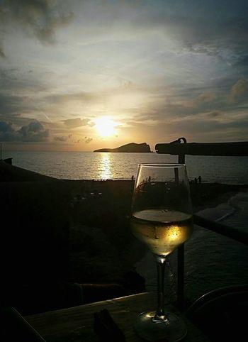 Sunset Peace And Quiet Wine Friends Balearic Islands Ibiza Sunset Calacomte Magicsunset Faboulus
