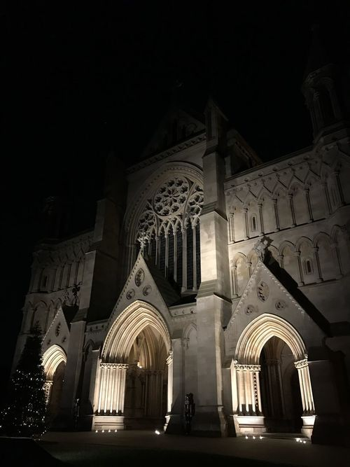 St. Albans Abbey photographed at night, illuminated by spotlights. St Albans St Albans Cathedral Architecture Building Exterior Built Structure Illuminated Night Outdoors Place Of Worship Religion Spirituality