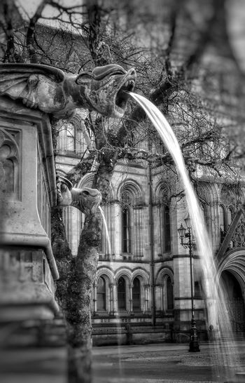 gargoyle water feature Manchester Waterscape Fountain Water Feature Up Close Malephotographerofthemonth Blackandwhite Photography Bnw monochrome photography Closeup Manchester Water City Architecture Built Structure Drinking Fountain Arch Flowing Water Historic