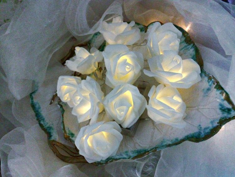 Artificial Roses Decoration With Flowers Decorative Lights Decorations Rose Chain Ladyphotographerofthemonth White Flowers Wedding Decoration Weddings White Roses Diner En Blanc White Chiffon White Background Without Flash