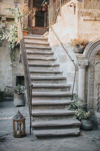 Architecture Staircase Built Structure Steps And Staircases Building Exterior Building Potted Plant Railing Direction Plant No People Day Outdoors The Way Forward City Absence Residential District Entrance Nature Door Flower Pot Alley Stairs