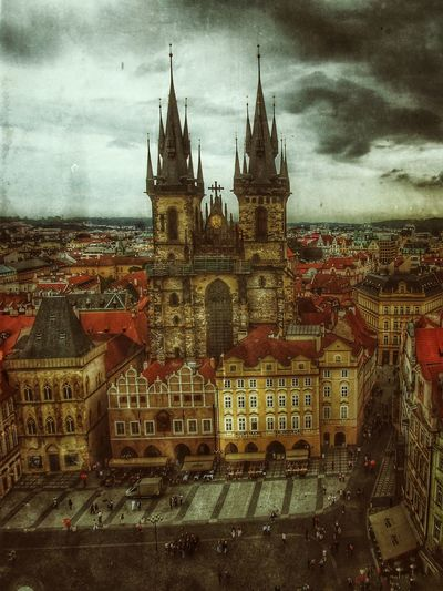 Paint The Town Yellow Built Structure Architecture Cloud - Sky City Sky Building Exterior Cityscape Outdoors Day Clouds And Sky Cloudy Storm Storm Approaching Prague Prague Centrum Church Two Towers Spooky Creepy Scary Raw Fear City Market Place