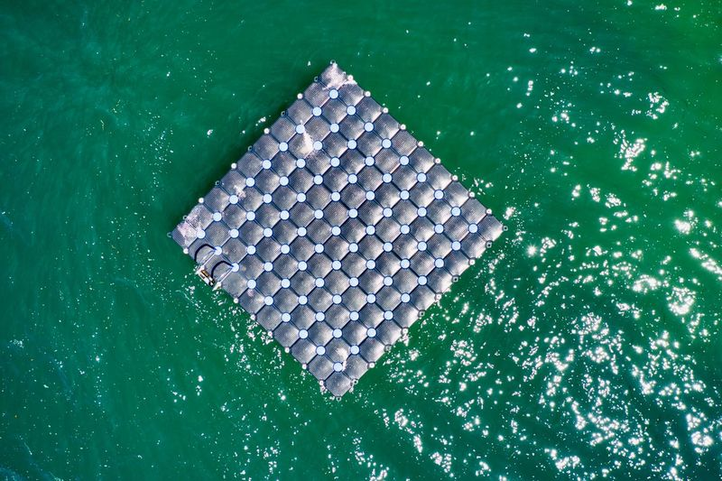 Italy, Garda Lake, Malcesine: floating pontoon Aerial Aerial Photography Color Green Day Day Light Day Time Daylight Daytime DJI Mavic2 Pro Drone  Floating From A Distance From Above  Garda Green Color High Angle View Horizontal Italy Lake Looking Down Malcesine No One No People Nobody Outdoor Outdoors Outdoors Plastic Pontoon Square Unit Water Directly Above Nature Close-up Pattern Waterfront Sunlight Shape White Color Geometric Shape Design Sea Still Life Turquoise Colored