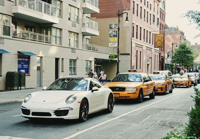 Follow the leader. Porsche 911 Taxi Taxicab NYC Photography NYC NYC LIFE ♥ NYC Street Carspotting Cars Porsche Mix Yourself A Good Time