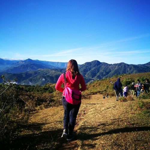 Mountain Full Length Clear Sky Women Standing Photography Themes Sunlight Sky Mountain Range