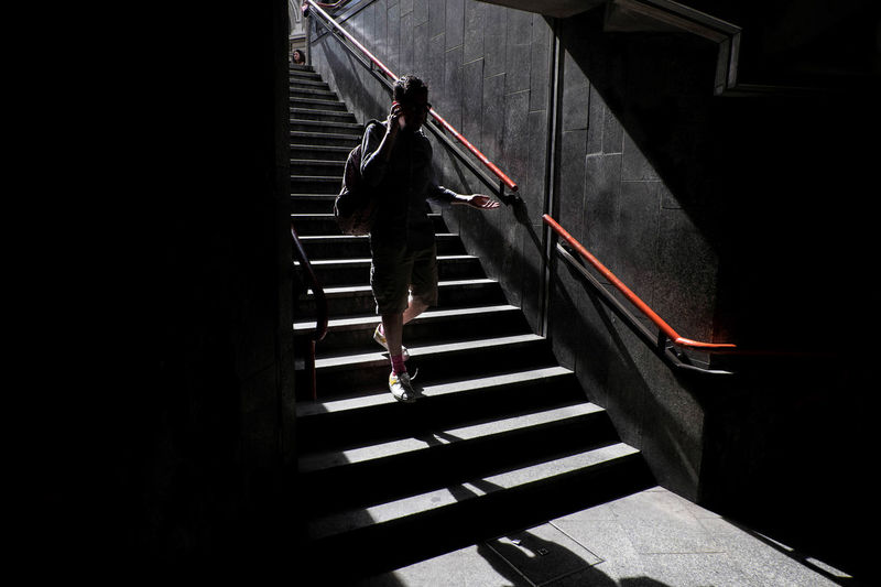 Metro Milanocity One Person People Phone Shadow Staircase Steps Streetphotography Subway