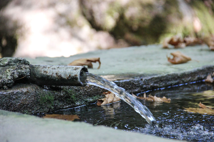 Close-up of water running from pipe in pond