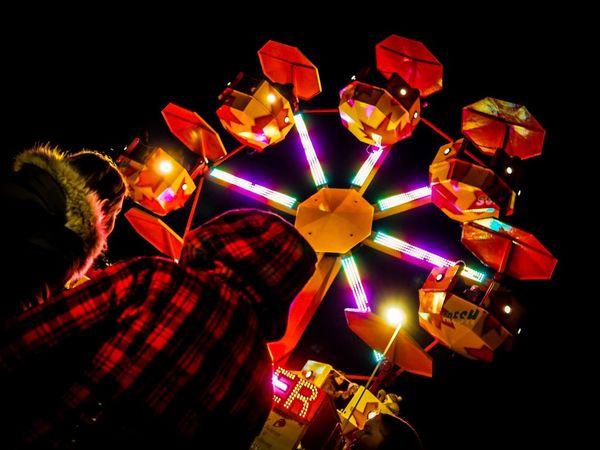 Christmas market Market Christmas Market Olympus Olympus OM-D E-M5 Mk.II Illuminated Night Celebration People Black Background Adult Human Body Part