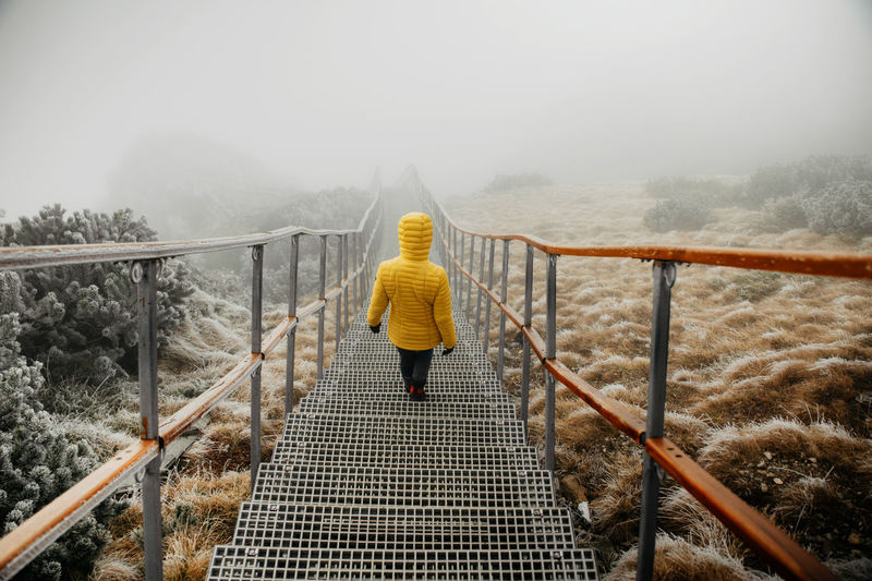 Rear view of woman on footbridge during winter