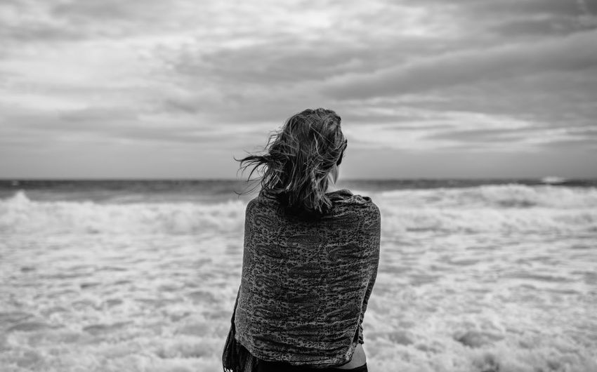 Longing B&w B&w Photography Beach Beauty In Nature Day Horizon Over Water Leisure Activity Lifestyles Nature One Person Outdoors People Real People Rear View Scenics Sea Sky Standing Water Women Young Adult