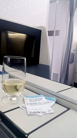 Korean Air luxury flying. Table Indoors  Drinking Glass Desk Office No People Drink Paper Business Technology Day Close-up Plane Fly Flying High Business Class First Class