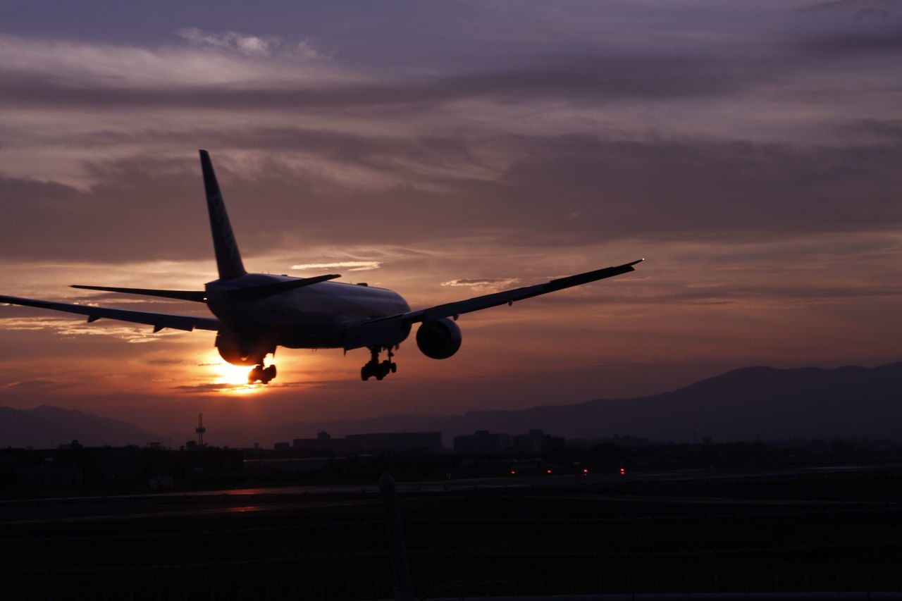 sunset, airplane, transportation, sky, cloud - sky, travel, journey, air vehicle, dusk, silhouette, mode of transport, flying, airport, airport runway, commercial airplane, nature, no people, outdoors, day