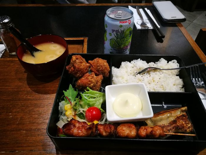 bento box and miso soup Plate City Close-up Food And Drink Japanese Food Caviar Comfort Food Japanese Culture Sushi Rice - Food Staple