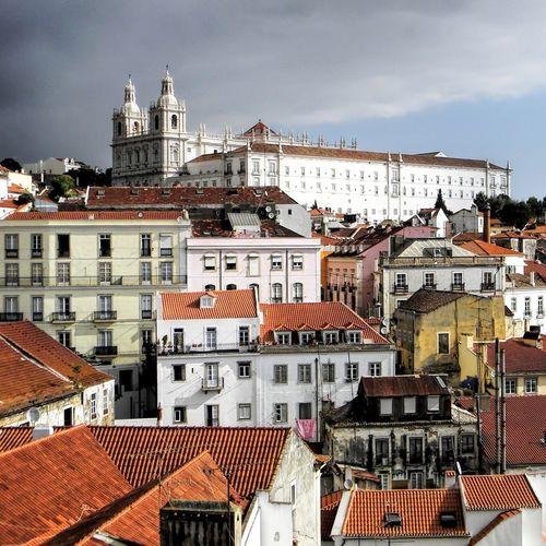 High Angle View Of Sao Vicente De Fora Church At Alfama Against Cloudy Sky