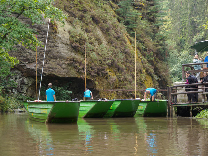 Boats on the Gorges in Hrensko Water Transportation Tree Plant Day Nature Nautical Vessel Outdoors Boat Gorge