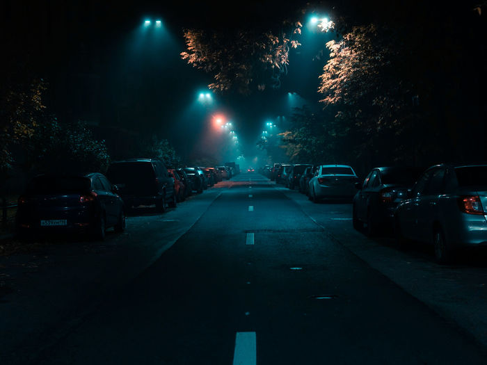 Car Motor Vehicle Mode Of Transportation Transportation Land Vehicle Night Illuminated Road City Street Tree The Way Forward Architecture Direction No People Sign Nature Street Light Built Structure Building Exterior