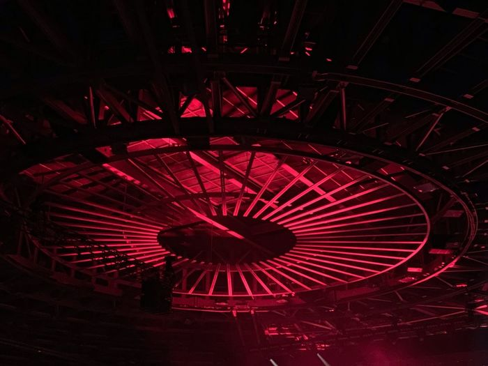 Red No People Night Arts Culture And Entertainment Illuminated Pattern Low Angle View Shape Architecture Amusement Park Geometric Shape Outdoors Built Structure Circle Design Dark City Creativity Ceiling Nightlife
