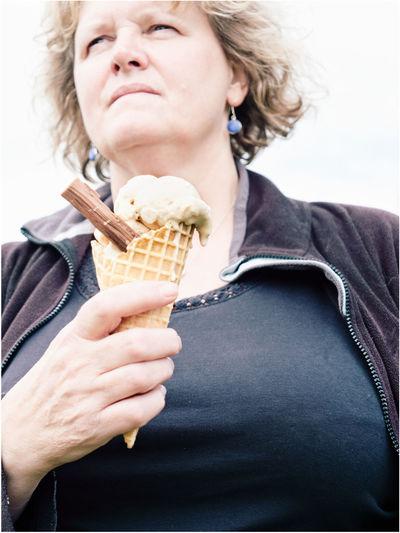Woman holding ice cream