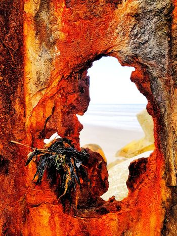 Løkken, Strand Landscape Sand Beach Weathered Metal Rusty Abstract Taking Photos Taking Pictures The Week on EyeEm Timepaint72 Rock - Object Nature Rock Formation Beauty In Nature Sunset Scenics Tranquility Red Day Outdoors Cave No People Sky