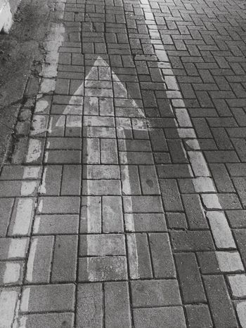 Pattern Stone Tile Full Frame Day Outdoors No People Close-up Signal GOAHEAD NOW ! Goahead Front Traffic Sign Way Toward