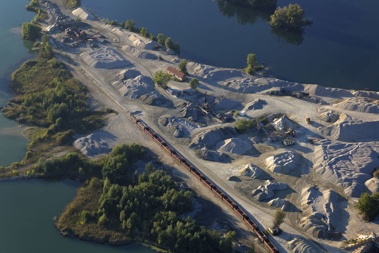 Aerial view of gravel extraction in botovo, croatia