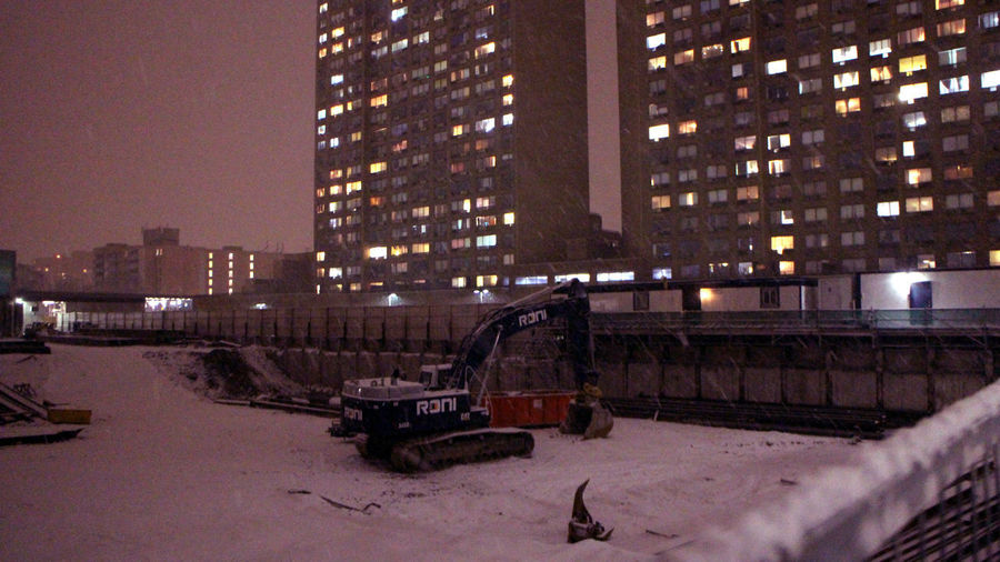 Photos taken in and around Toronto, new years 2019. Toronto Winter Snow Snowing City Urban Shuvel Construction Digging Architecture Built Structure Cold Temperature Building No People Construction Industry Land Vehicle Skyscraper Sky Night Illuminated Building Exterior
