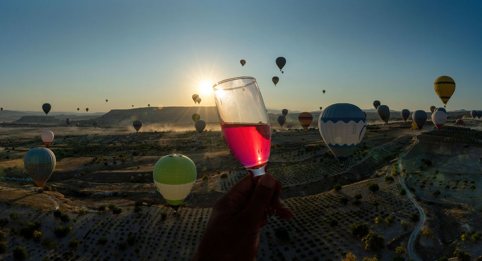 People holding drink against sky at sunset