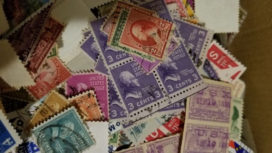 Backgrounds Currency Multi Colored Paper Gambling Wealth Close-up Postage Stamp Envelope Correspondence Letter Send Mail Slot Mailbox Public Mailbox Mosaic Mail