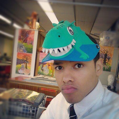 Art lesson. Dinosaur Green Hat Goovy cap! birthday kid! :)