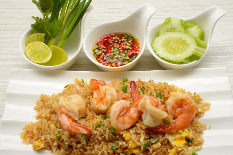 Fried rice with shrimp. Shrimps Rice Field Asia Food Spice Seefood Food And Drink Vegetable Food Plate Bowl Ready-to-eat Food Stories