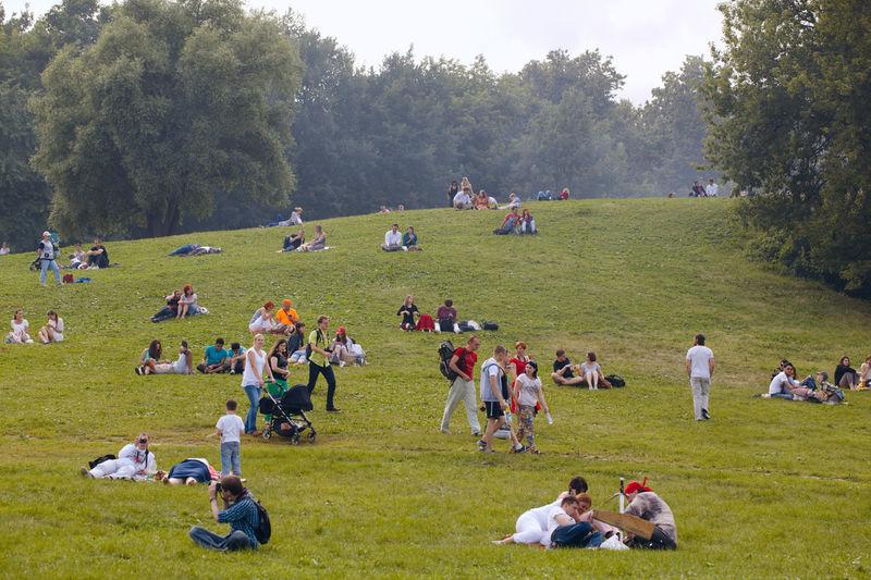 People Enjoying On Grassy Field