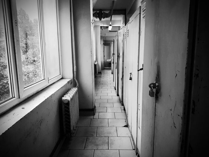 Corridor No People Architecture Door Window Monochrome