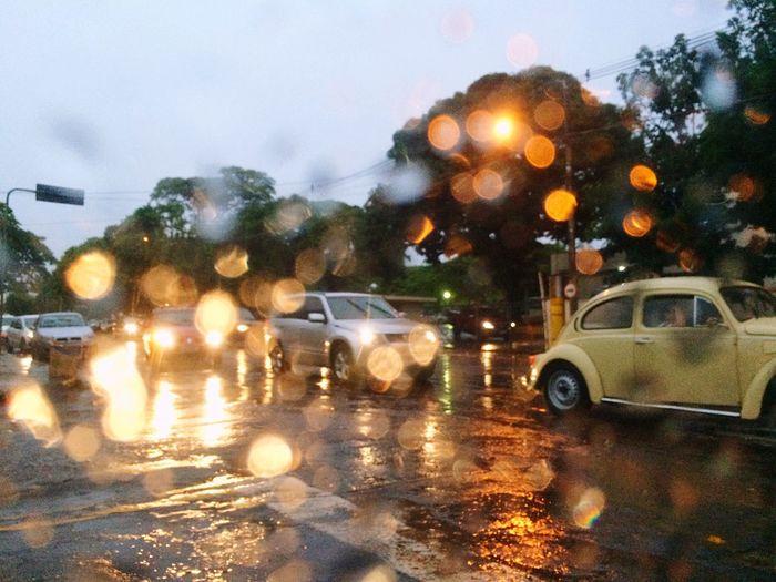Cars on wet road during rainy season