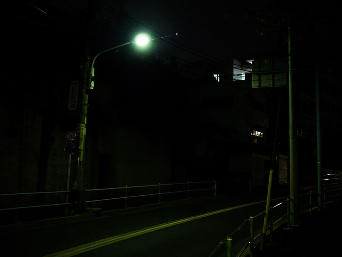 View of empty road at night