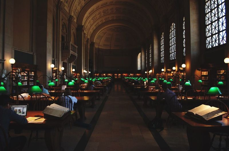 Boston Library Education Seat Indoors  Architecture In A Row Illuminated Built Structure Table Building