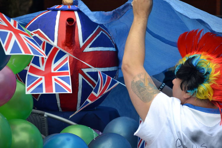 British Celebration Cup Of Tea Cup Of Tea As Inspiration Cup Of Tea..  Day Flag Gay Pride Lgbt Lifestyles Men Multi Colored Outdoors Patriotism People Real People Tea Teapot Teatime Union Jack