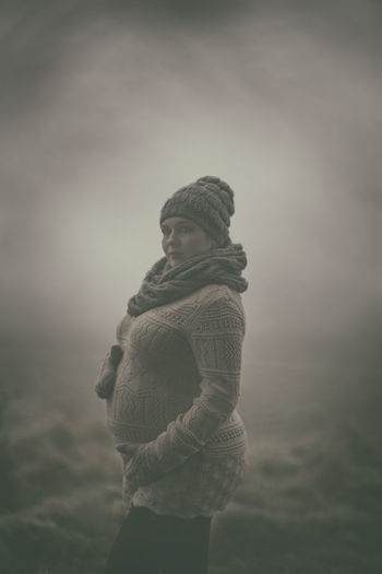 Another Art Portrait  Beauty In Nature Day Fog Nature Old Converse Old Foto  One Person Outdoors Pregnancy Pregnancy Is Beautiful Pregnancy Photography Real People Standing Warm Clothing Winter Women Young Women