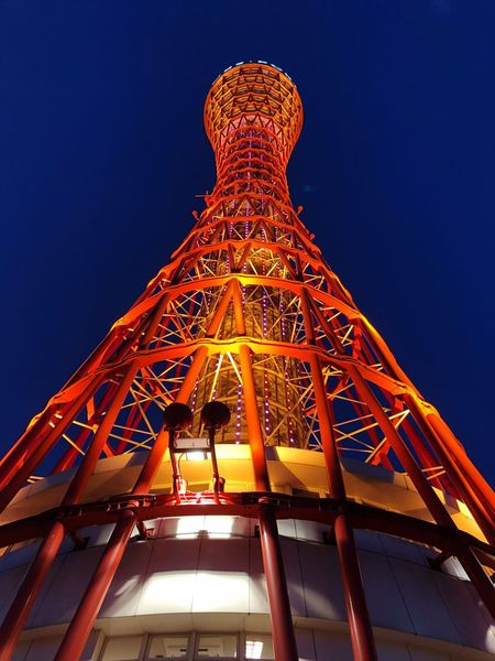 Kobe Port Tower Low Angle View Architecture Built Structure Illuminated Night No People Blue