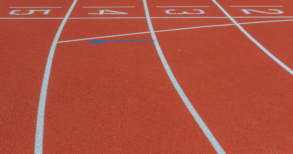 Starting line of running track