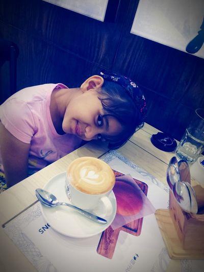 My princess Eyeglasses  Drink Drinking Glass Breakfast Portrait Sitting Croissant Milk Froth Art Orange Juice