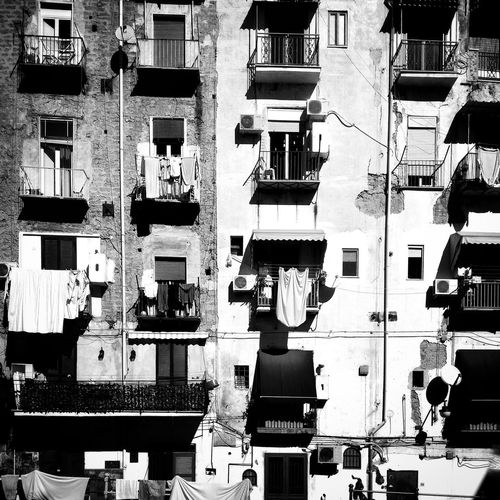 Abundance Architecture Balcoli Balcony Bianco E Nero Building Exterior Citt City City Life Close Up Clothesline Clothing Community Contrast Culture Day Finestre Full Frame Geometry Human Settlement Italia Large Group Of Objects Looking Napoli No People Palazzo Quartieri Spagnoli Repetition Residential District Side By Side Working