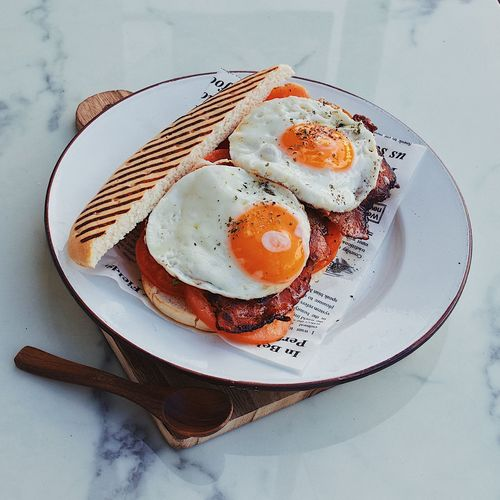 High angle view of breakfast served on plate