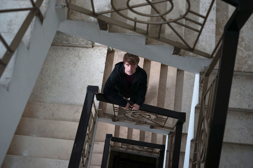 Guy and staircase Dark Fashion Stairs Design Guy Portrait Staircase Vamp