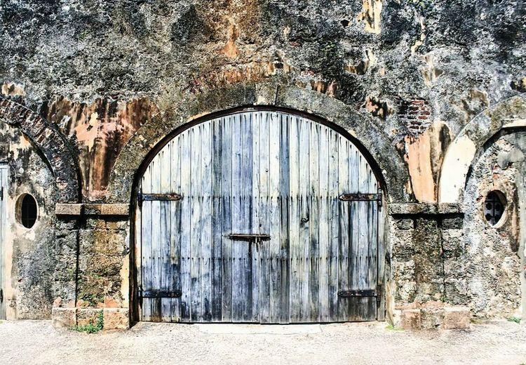 Weathered Wooden Door At Castillo De San Cristobal