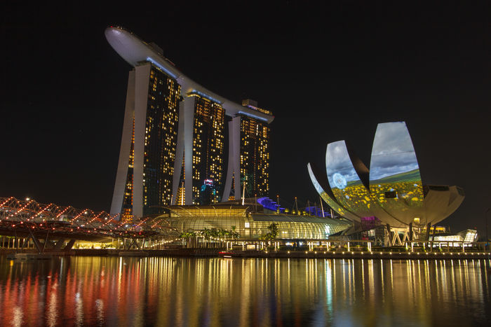 Marina Bay Sands Architecture Built Structure City Illuminated Marina Bay Sands Modern Night No People Reflection River Singapore Tourism Travel Destinations Water Waterfront