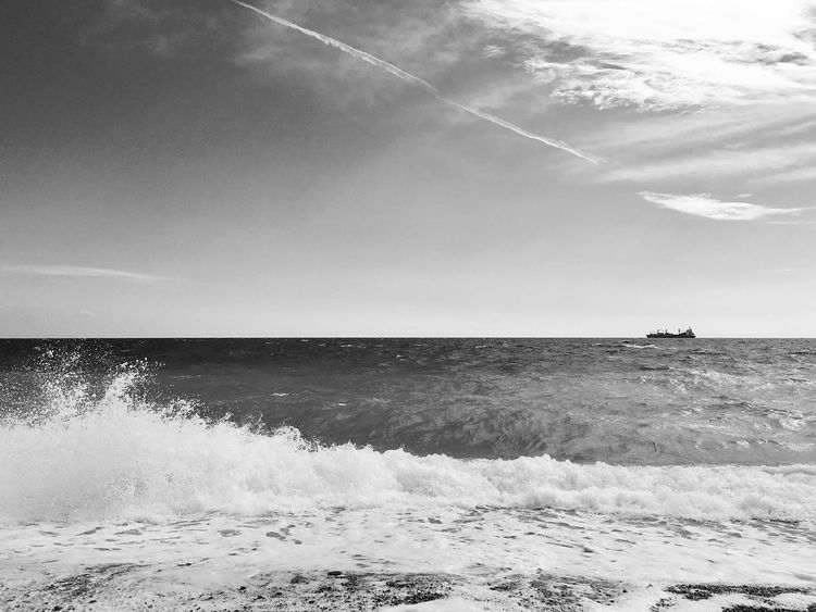 Poseidon Todaysmood Windy Wavy Water Beauty In Nature Horizon Over Water Nature Wave Scenics Sky No People Motion Day Outdoors Black And White Friday