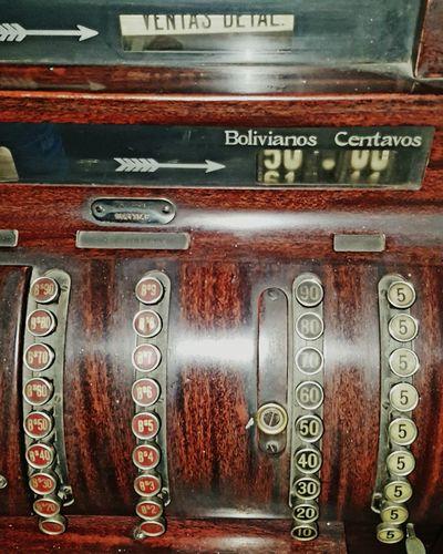No People Indoors  Cash Register Old Cash Register Bolivianos Mechanical Money Register Antique Old Till Receipt Machine Old Till Old Efectivos Spanish Language Till Money Till