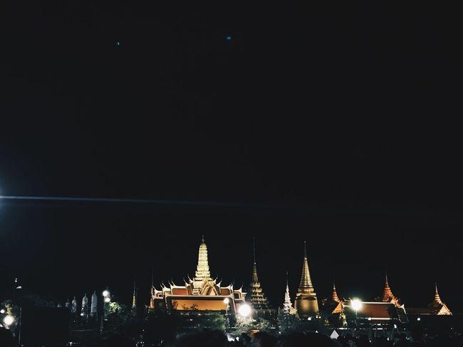 Night Architecture Sky Outdoors Religion Kingbhumiboladulyadej KingBhumibhol Royal Grand Palace Bangkok Photo By IPhone7plus Taksina S.