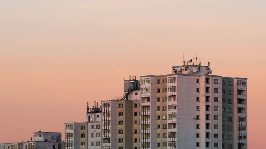 View of buildings against sky during sunset